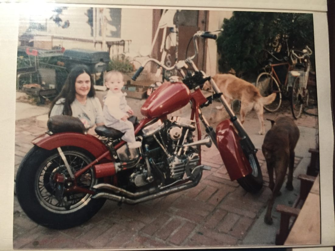 Baby Katie on Dad's Panhead