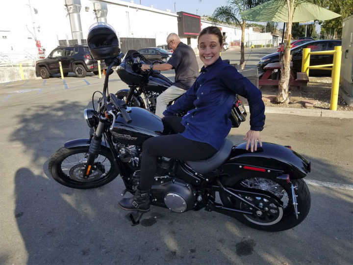 Katie on the new 2018 Harley-Davidson Softail Street Bob